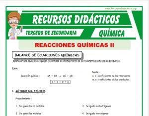 Ficha de Balance de Ecuaciones Químicas para Tercero de Secundaria