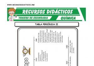 Ficha de Clasificación Periodica de Elementos para Tercero de Secundaria