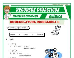 Ficha de Clasificación de la Función Óxidos para Tercero de Secundaria
