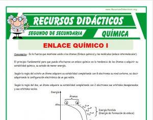Ficha de Definición del Enlace Químico para Segundo de Secundaria
