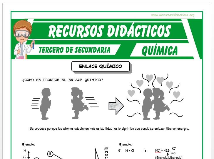 Ficha de Definición del Enlace Químico para Tercero de Secundaria