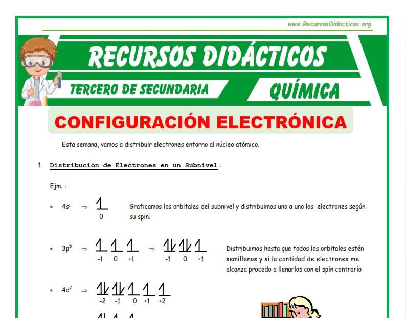 Ficha de Distribución de Electrones para Tercero de Secundaria