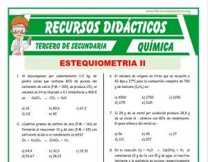 Ficha de Ejercicios de Estequimetria para Tercero de Secundaria