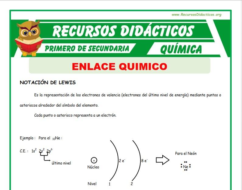 ficha de Enlace Químico para Primero de Secundaria