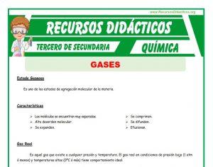 Ficha de Gases para Tercero de Secundaria