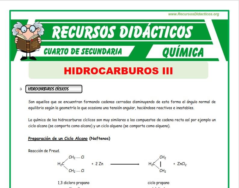 Ficha de Hidrocarburos Cíclicos y Aromáticos para Cuarto de Secundaria