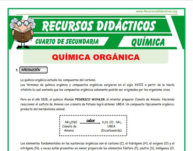 Ficha de Introducción a la Química Orgánica para Cuarto de Secundaria