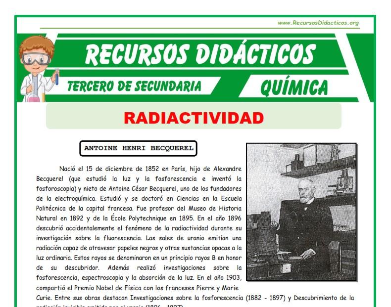 Ficha de La Radiactividad para Tercero de Secundaria