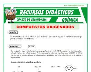 Ficha de Los Compuestos Oxigenados para Cuarto de Secundaria
