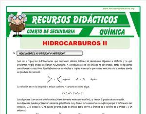 Ficha de Los Hidrocarburos no Saturados para Cuarto de Secundaria