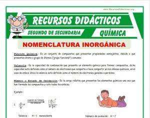 Ficha de Nomenclatura Inorgánica para Segundo de Secundaria