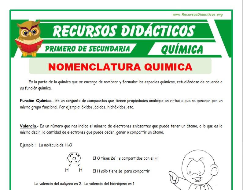 Ficha de Nomenclatura Quimica para Primero de Secundaria
