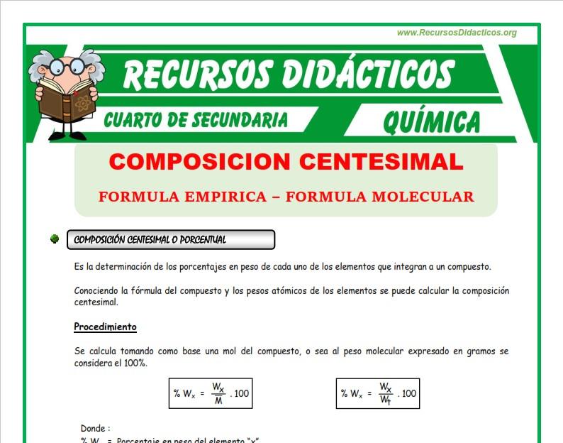 Ficha de Que es una Composición Centesimal para Cuarto de Secundaria