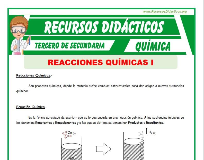 Ficha de Reacciones Químicas para Tercero de Secundaria