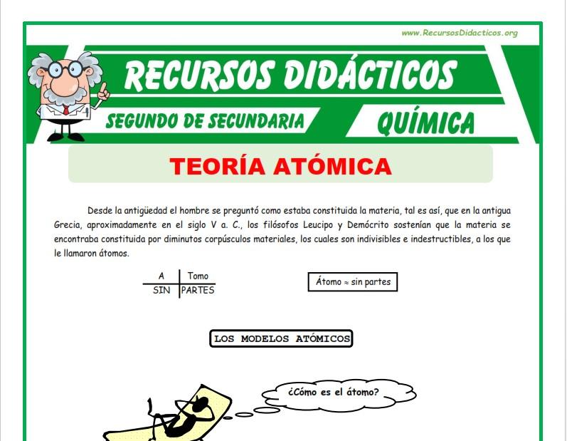 Ficha de Definición Teoría Atómica para Segundo de Secundaria