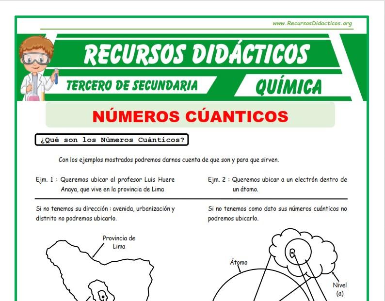 Ficha de Tipo de Números Cuánticos para Tercero de Secundaria