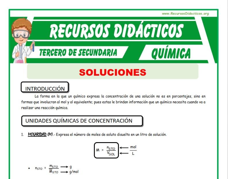 Ficha de Unidades Químicas de Concentración para Tercero de Secundaria