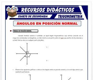 Ficha de Ángulos en Posición Normal para Cuarto de Secundaria