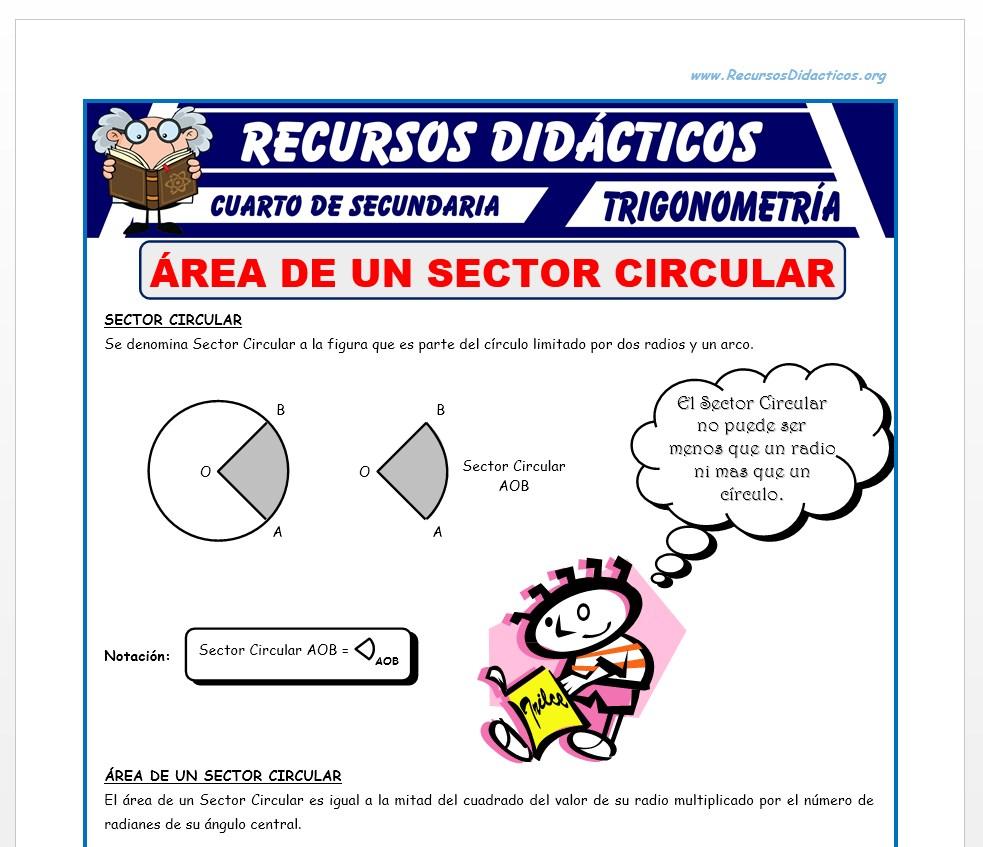 Ficha de Área de un Sector Circular para Cuarto de Secundaria