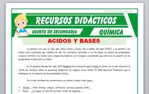 Ficha de Ácidos y Bases para Quinto de Secundaria
