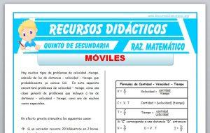 Ficha de Actividades con Móviles para Quinto de Secundaria