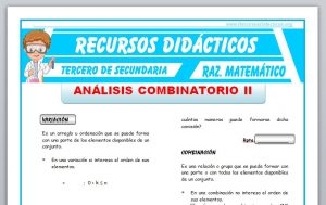Ficha de Análisis Combinatorio 2 para Tercero de Secundaria