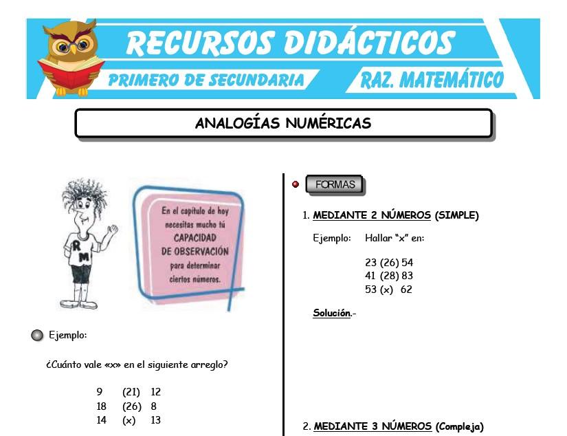 Ficha de Analogías Numéricas para Primero de Secundaria