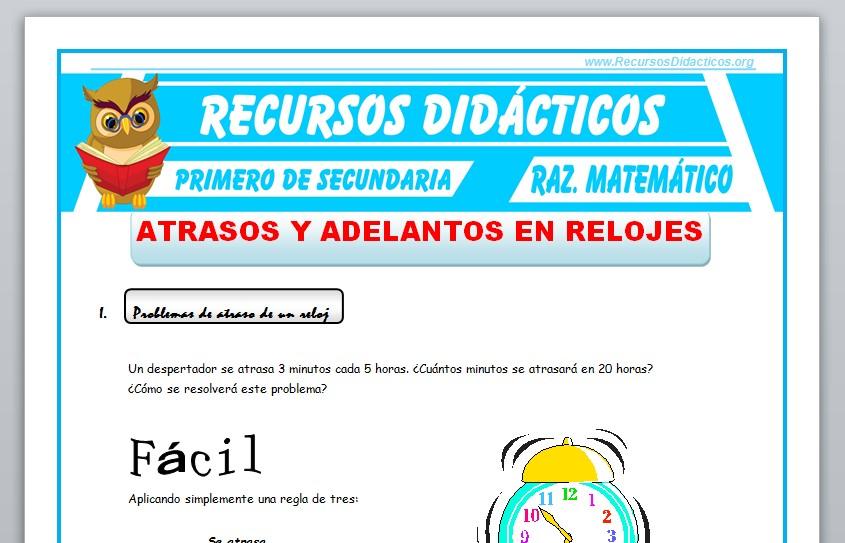 Ficha de Atrasos y Adelantos en Relojes para Primero de Secundaria
