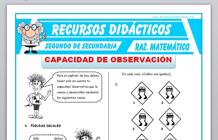 Ficha de Capacidad de Observación para Segundo de Secundaria