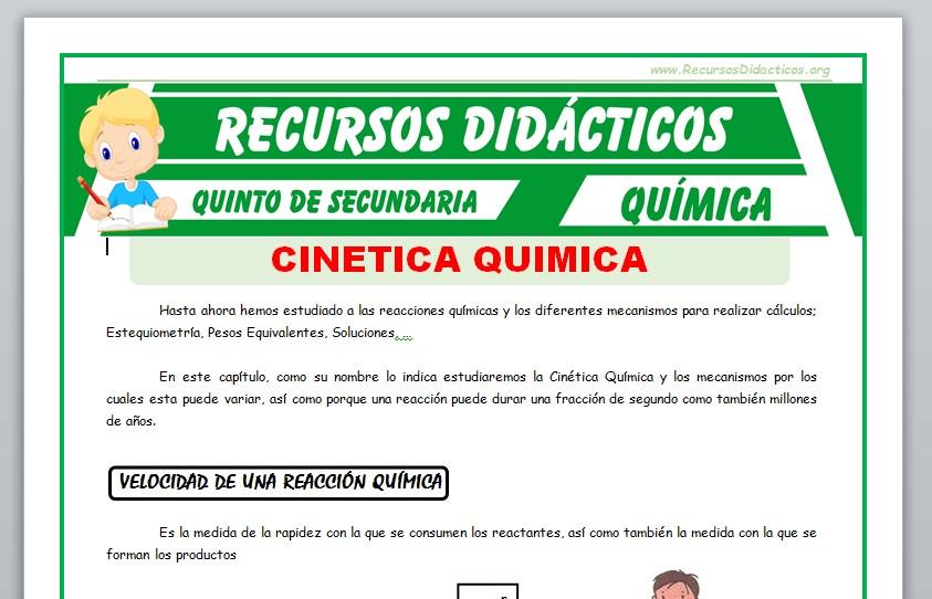 Ficha de Cinética Química para Quinto de Secundaria