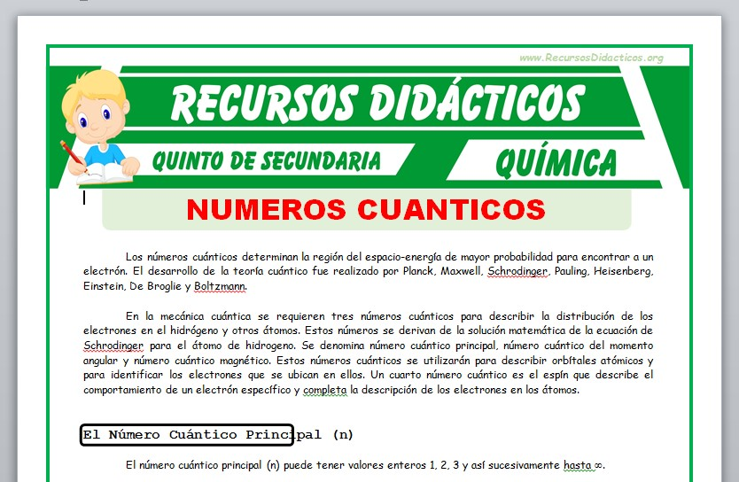 Ficha de Clasificación de los Números Cuánticos para Quinto de Secundaria