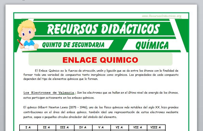 Ficha de Concepto de Enlace Químico para Quinto de Secundaria