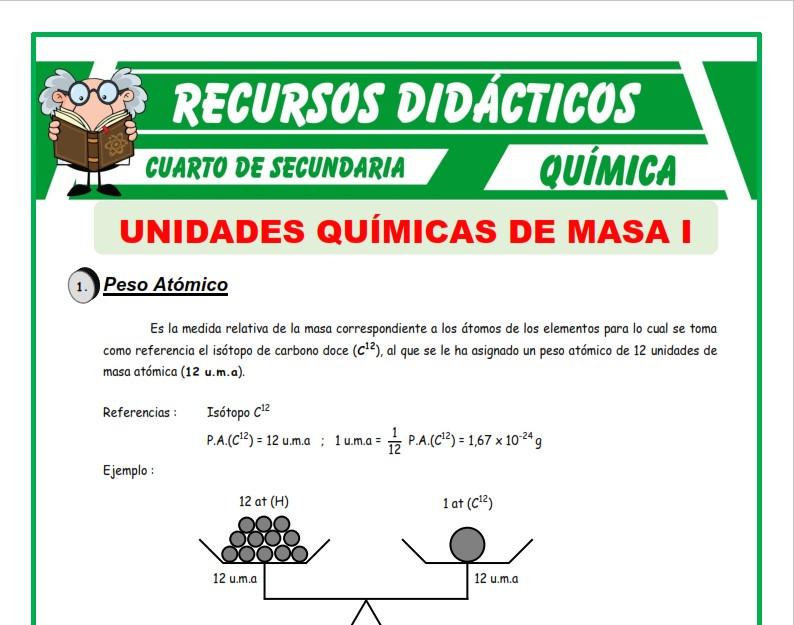 Ficha de Conceptos Básicos de Unidades Químicas de Masa para Cuarto de Secundaria