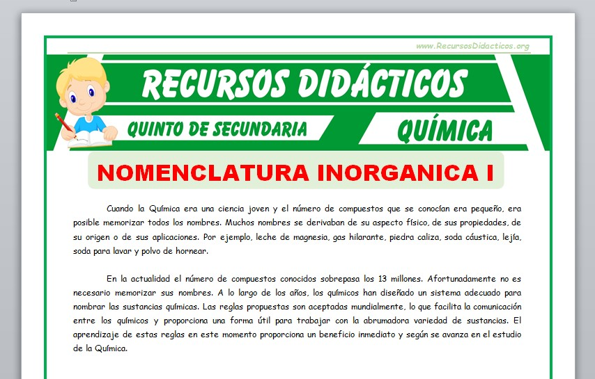 Ficha de Conceptos Básicos de Nomenclatura Inorgánica para Quinto de Secundaria