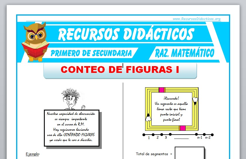 Ficha de Conteo de Figuras 1 para Primero de Secundaria