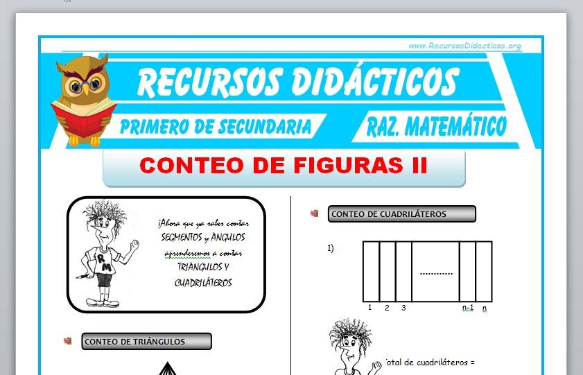 Ficha de Conteo de Figuras 2 para Primero de Secundaria