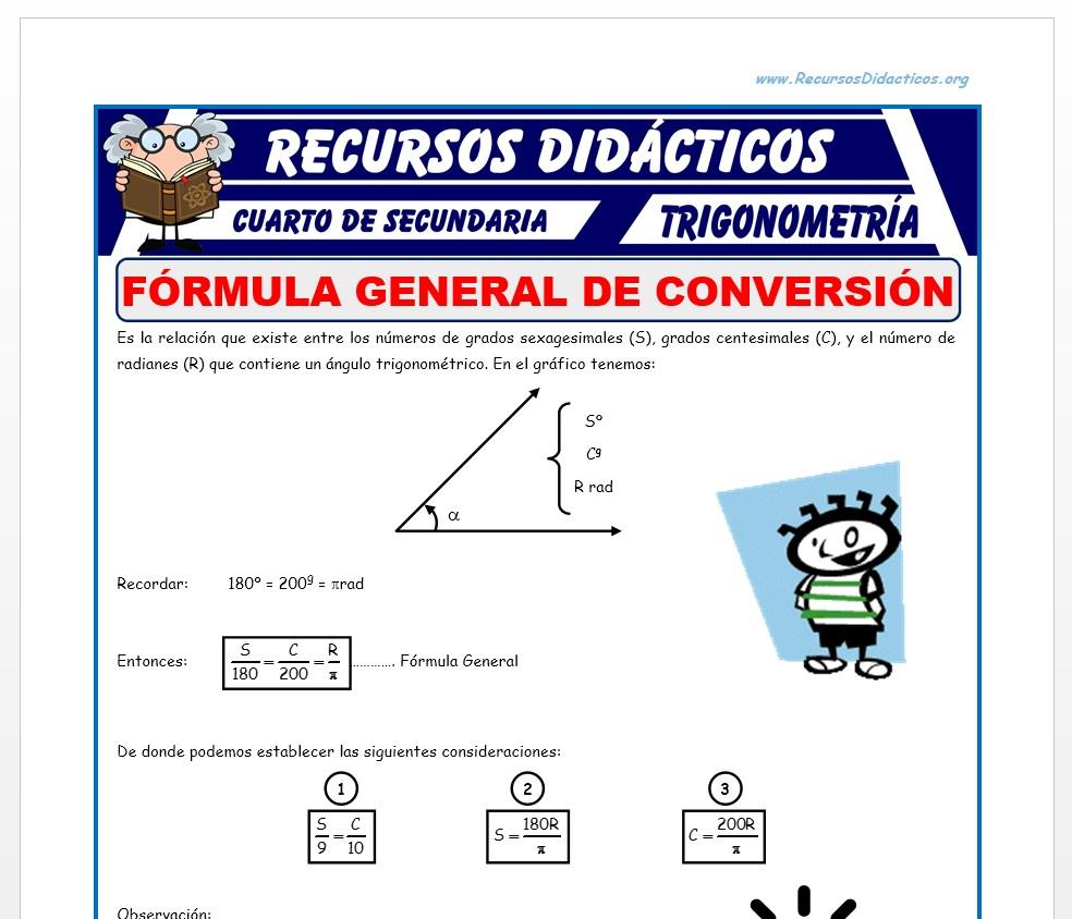 Ficha de Conversión de Sistemas Trigonométricos para Cuarto de Secundaria