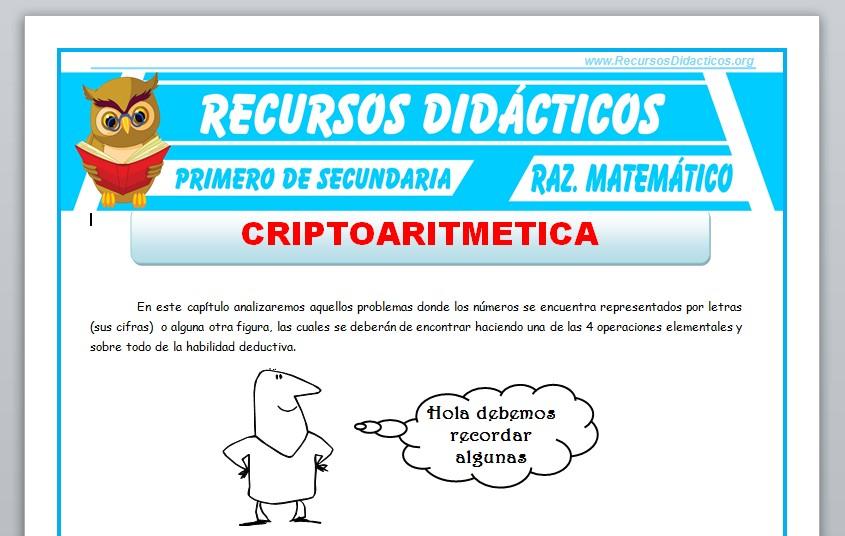 Ficha de Criptoaritmética para Primero de Secundaria