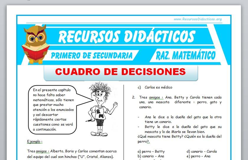 Ficha de Cuadro de Decisiones para Primero de Secundaria