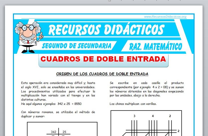 Ficha de Cuadros de Doble Entrada para Segundo de Secundaria