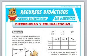 Ficha de Diferencias y Equivalencias para Primero de Secundaria