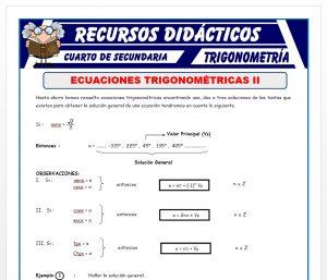 Ficha de Ecuaciones Trigonométricas 2 para Cuarto de Secundaria