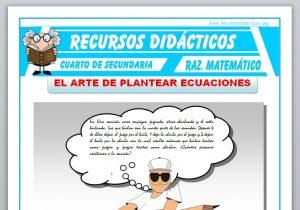 Ficha de Ejercicios de Planteo de Ecuaciones para Cuarto de Secundaria