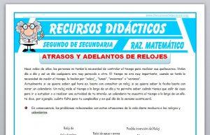 Ficha de Ejercicios con Relojes para Segundo de Secundaria