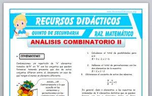 Ficha de Ejercicios de Combinaciones para Quinto de Secundaria