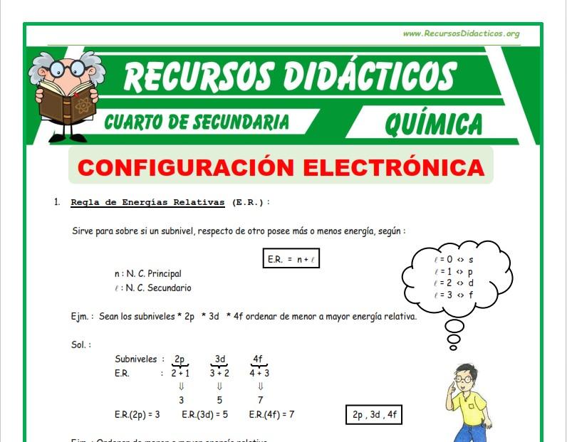 Ficha de Ejercicios de Configuración Electrónica para Cuarto de Secundaria