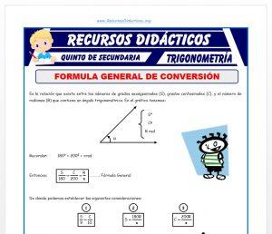 Ficha de Ejercicios de Conversión de Sistemas Trigonométricos para Quinto de Secundaria