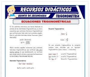 Ficha de Ejercicios de Ecuaciones Trigonométricas para Quinto de Secundaria