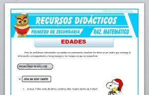 Ficha de Ejercicios de Edades para Primero de Secundaria