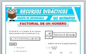 Ficha de Ejercicios de Factorial de un Numero para Cuarto de Secundaria